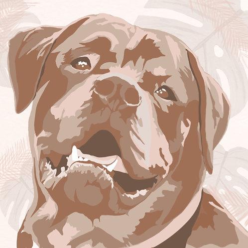 Customisable Tonal Digital Pet Portrait
