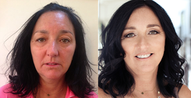 Before and After - Glam hair and makeup