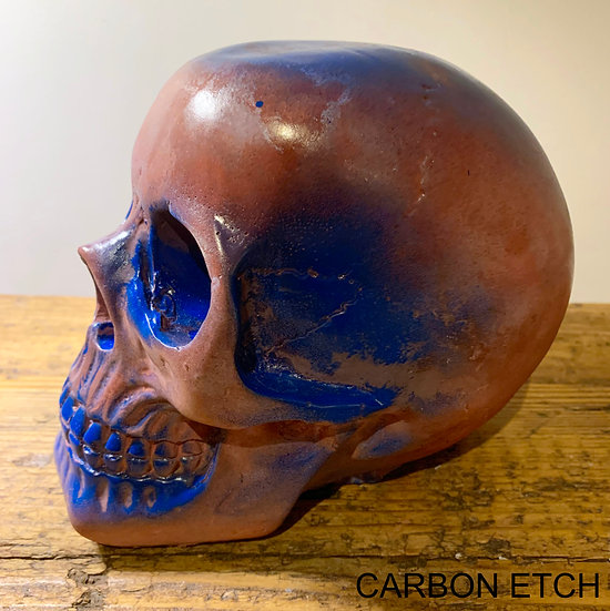 Red concrete blue accented skull