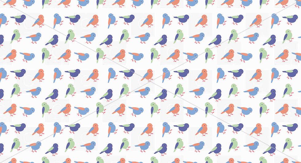 Blues Green Oranges Bird pattern tile