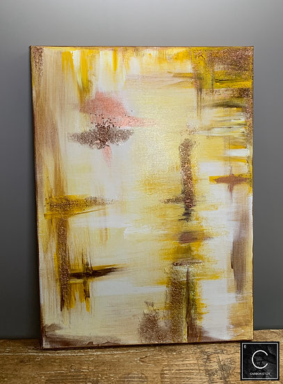 Yellow and copper abstract acrylic