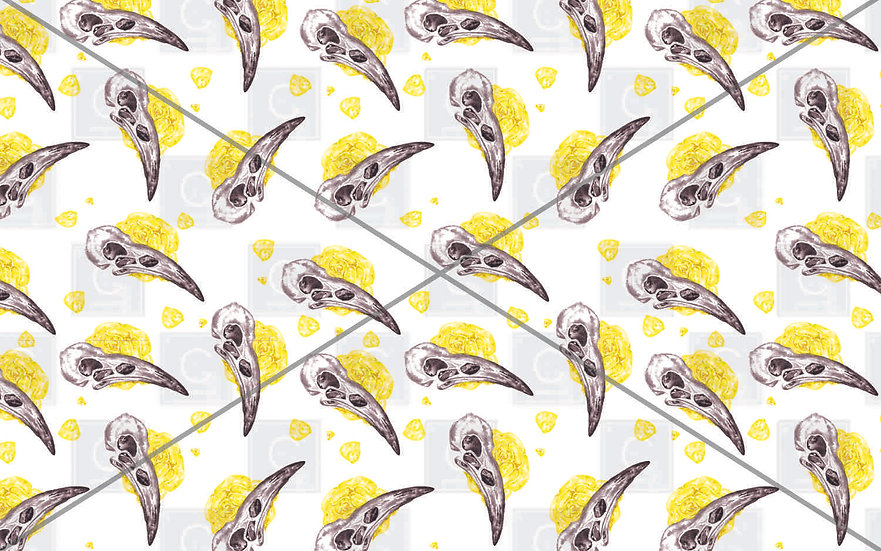 Hand painted watercolour bird skull rose Yellow pattern tiles