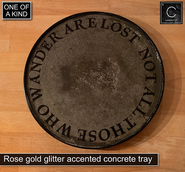 Rose Gold Glitter Accented Concrete Tray