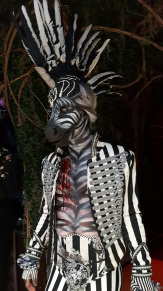 Zebra prothetics -Full face (2 pieces), wounds and airbrushing