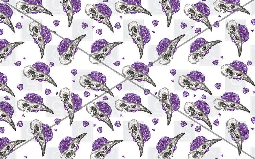 Hand painted watercolour bird skull rose Purple pattern tiles