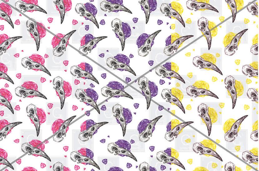 Hand painted watercolour Bird skull trio pattern tiles