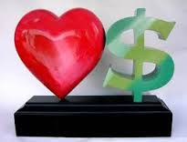 a red heart sits next to a green dollar sign