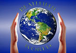 Two hands supporting Earth