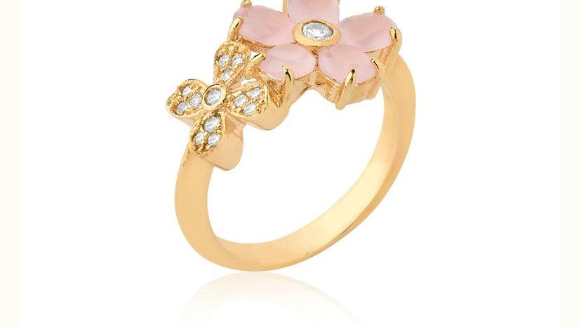 Anel Siena com flor rosa