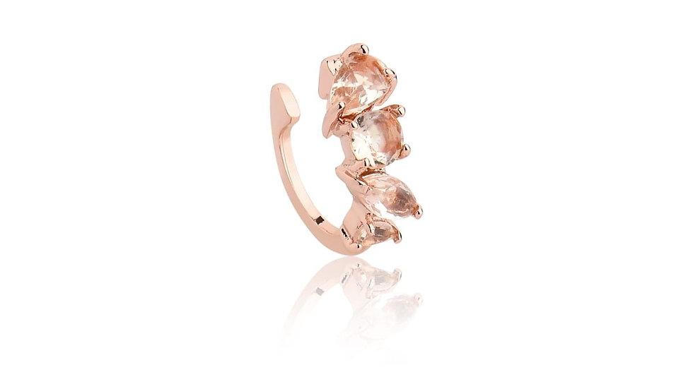 Piercing fake Rose Gold com morganita