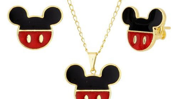 Colar + brinco Mickey