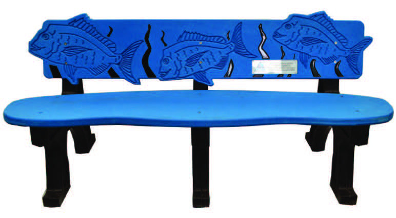 Bench made from recycled plastic bags