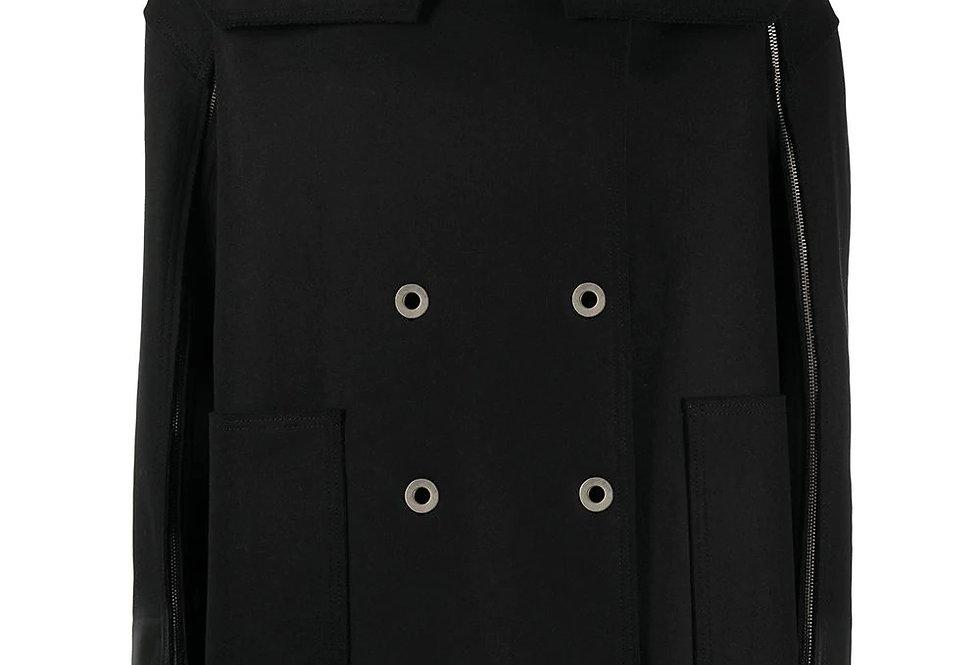 casaco de capa de manga com zíper