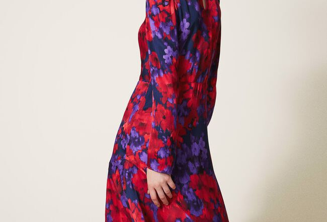 Vestido de cetim de estampa floral