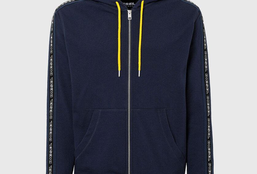 hoodie Capuz zip-up com bandas de logotipo de malha - Diesel
