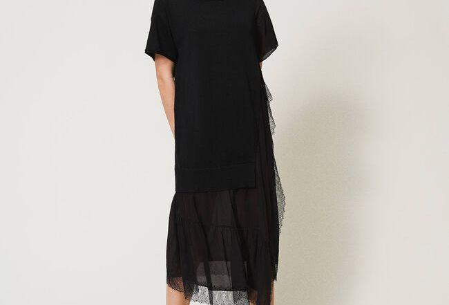 Vestido de mistura de linho com renda  - Twinset