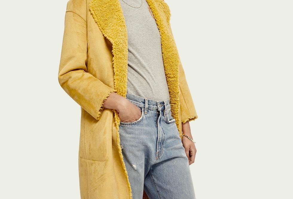 Jaqueta de pelúcia reversível longa