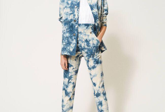 Calças tie-dye de cintura alta- Twinset