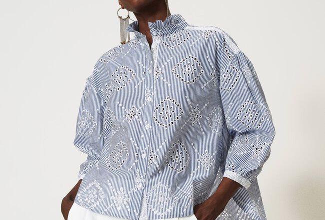 Camisa poplin C/bordado ingles - Twinset