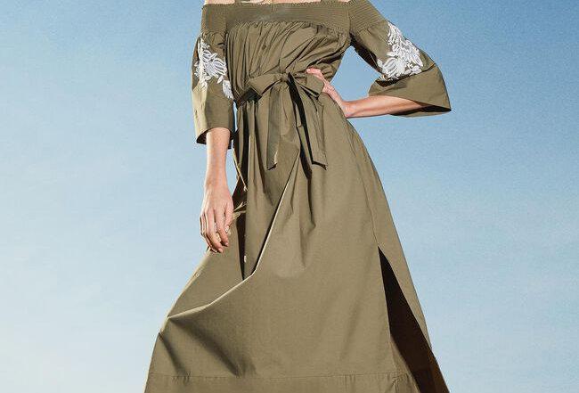 Vestido poplin off-shoulder com bordado - Twinset
