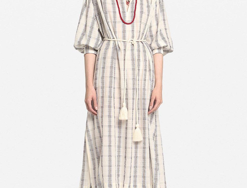 Vestido midi de algodão com cordão  -Ottod'Ame