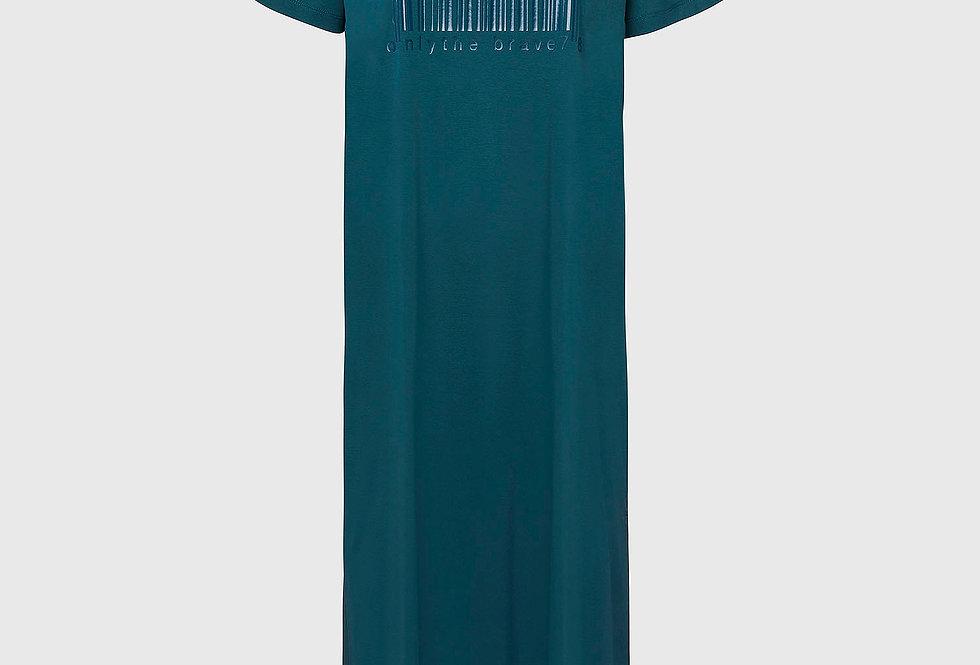 D-FELIX-LONG-E1 Vestido longo com estampa de código de barras