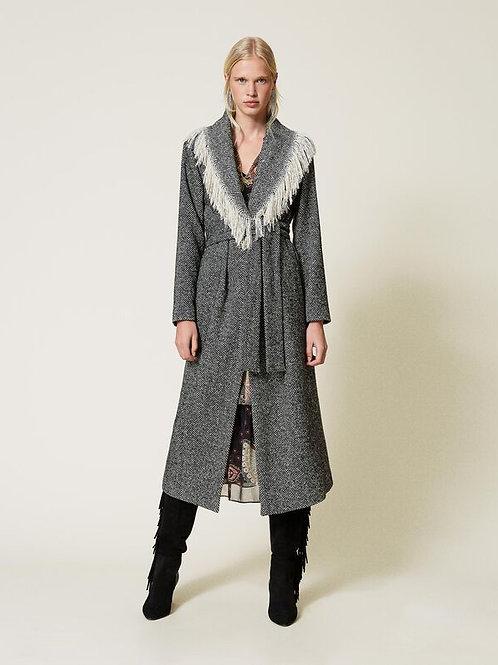 Casaco de lã chevron com franjas