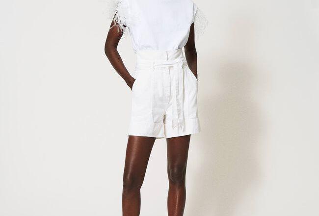 Shorts de cintura alta com cinto  - Twinset