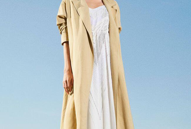 Linen blend trench coat- Twinset