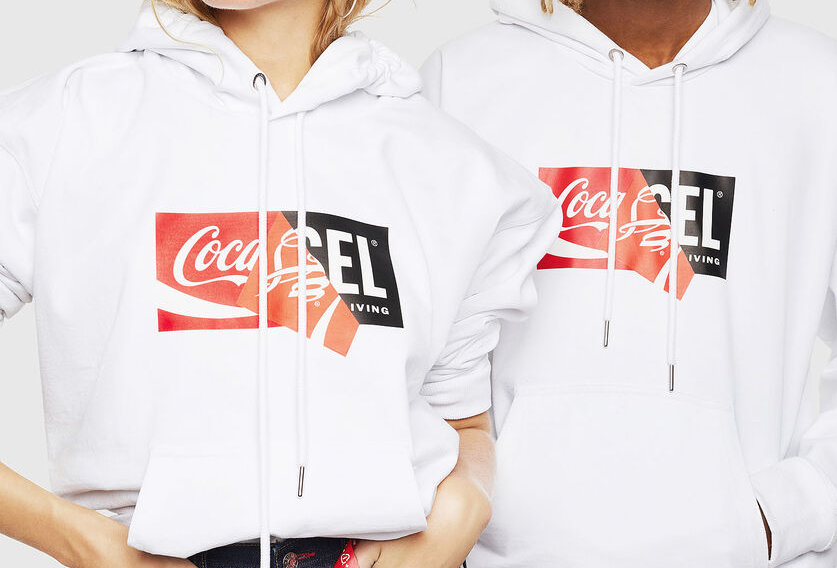 CC-S-ALBY-COLA Recycled fabric hoodie with double logo print