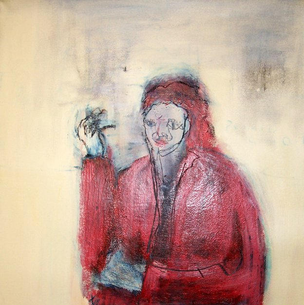 woman in red smoking jacket - Nobu Hama