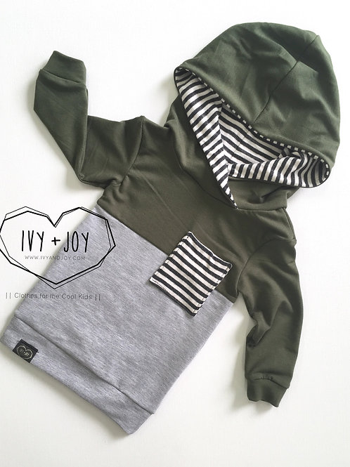 Sage/Grey Colour Block Hooded Top - RTS