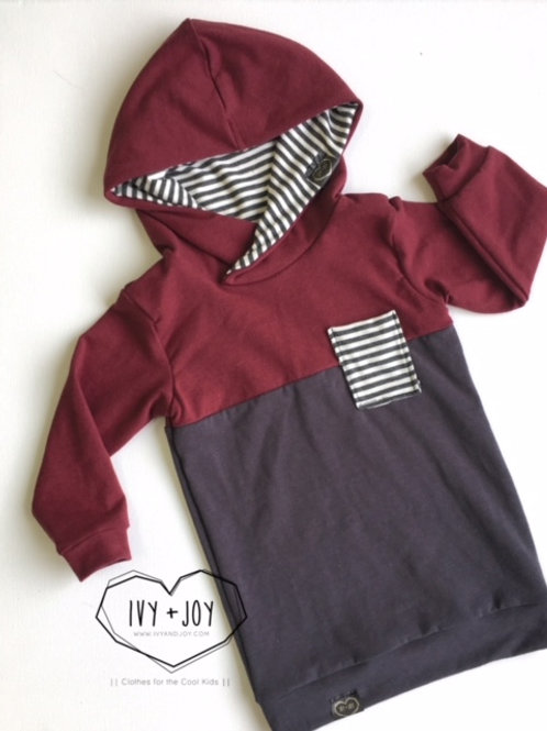 Merlot/Grey Colour Block Hooded Top
