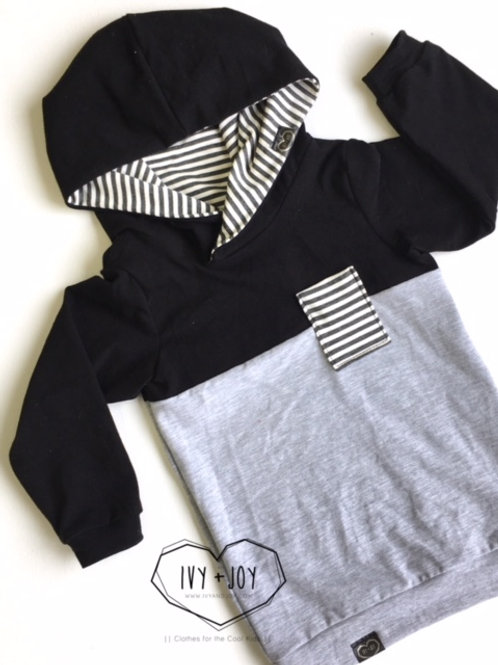 Black/Grey Colour Block Hooded Top