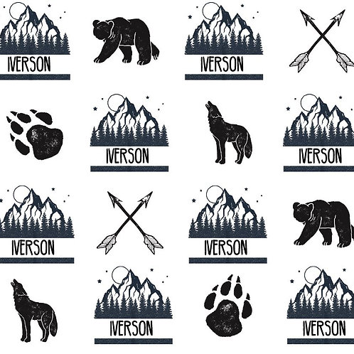 Black and White Woodlands Quilt Theme Name Blanket