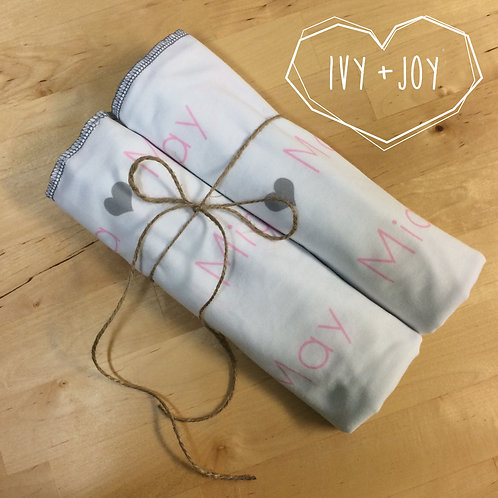 Personalized Name Swaddle Blankets (2 pack)