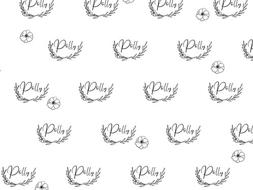 Black and White Floral Line Art Name Blanket