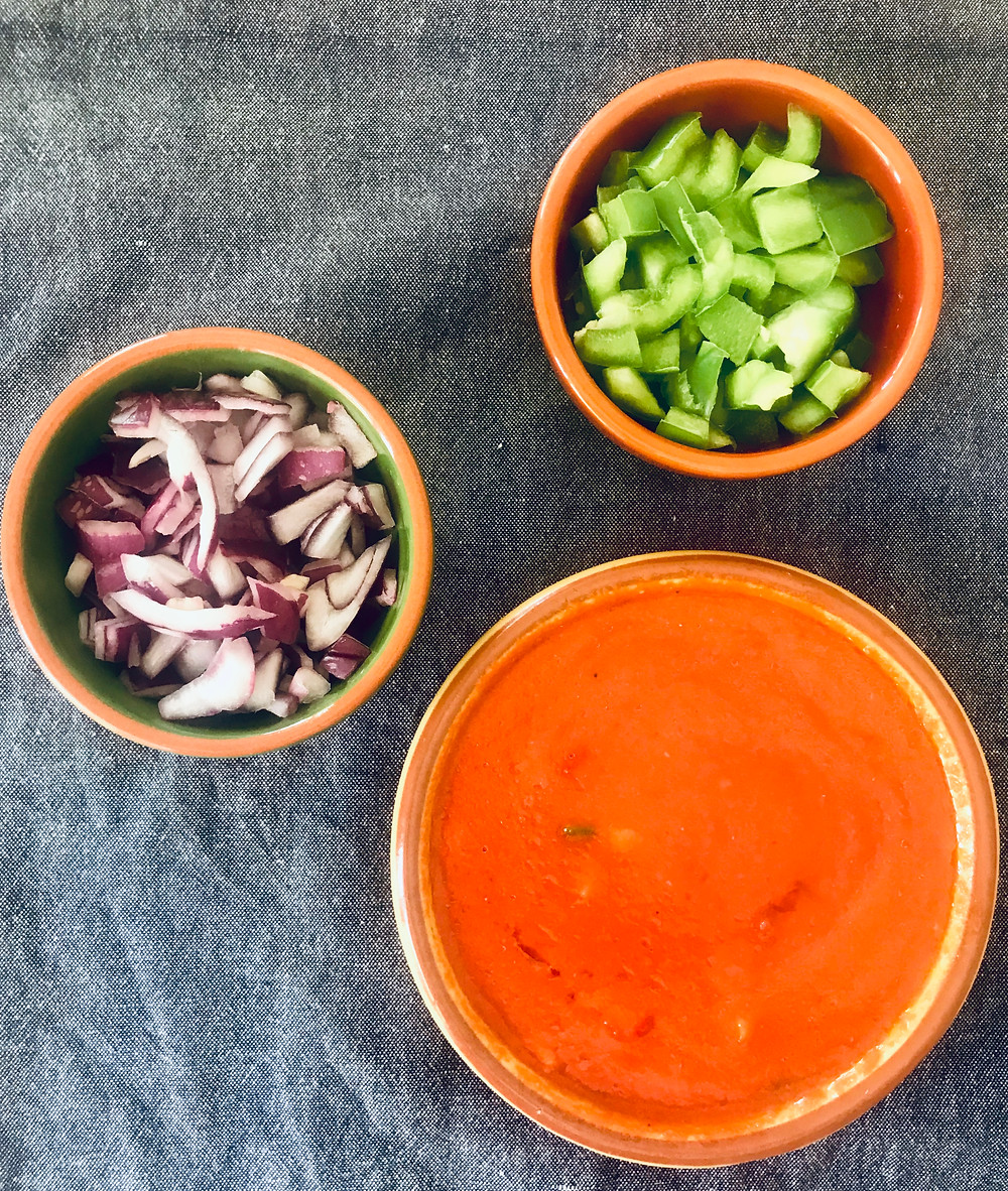 Gazpacho soup chopped onions peppers