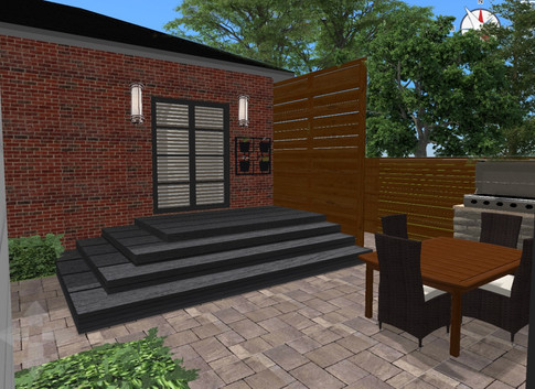 Contemporary Light fixtures & privacy fence.