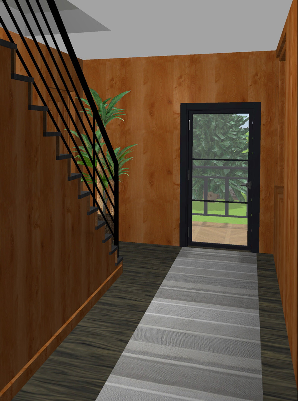 New glass door and contemporary metal railings.