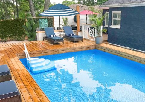 Heated saltwater pool.