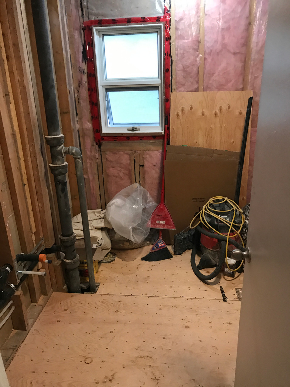 we were originally hoping to completely open up the space, but once we started demo we realized that the main stack was in between the toilet and vanity.