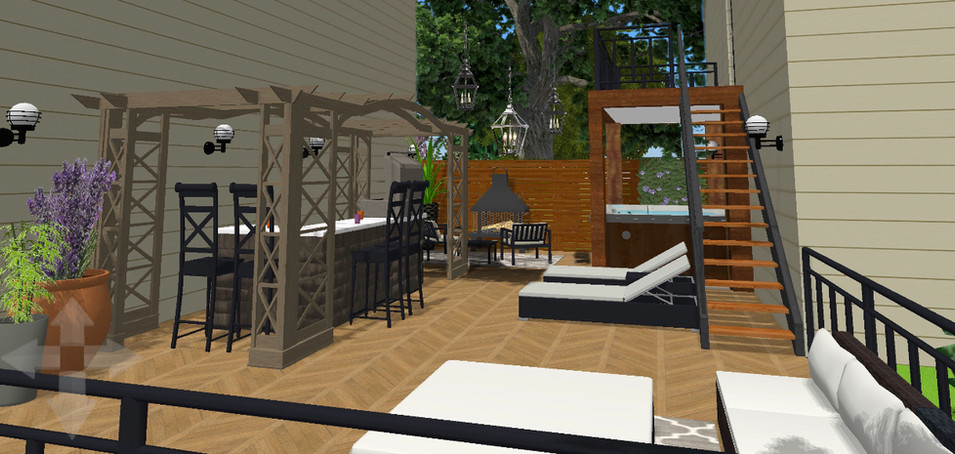 Outdoor livingspace between the house and garage.