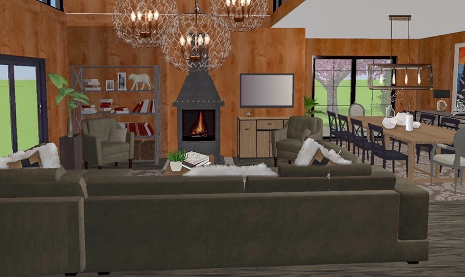 I accomplished the updated look through updated furniture, accessories, lighting, windows and doors.