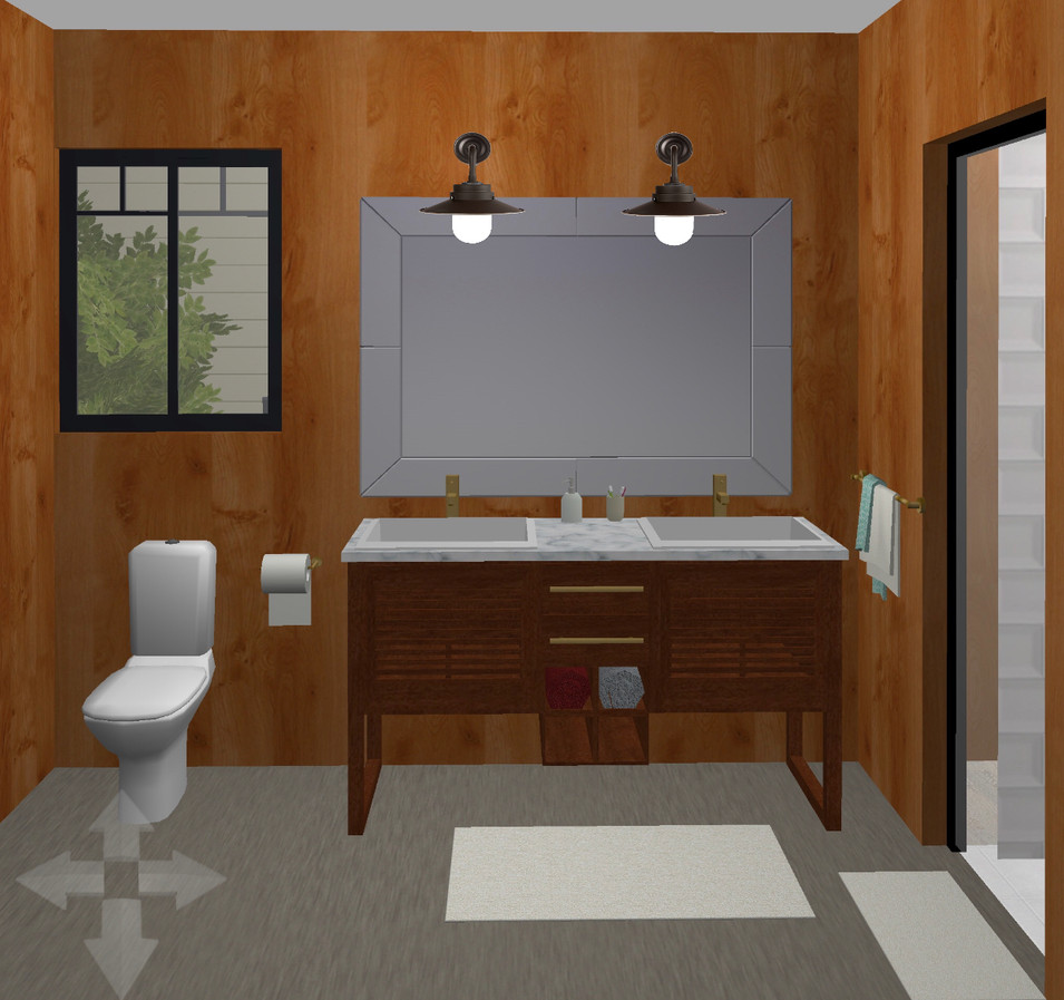 I added a double vanity, black window & new light fixtures.