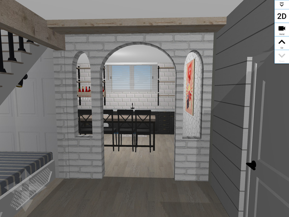 Looking into the kitchen/wet bar area
