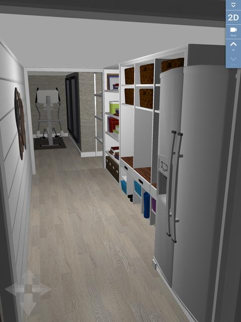 Hallway with storage.