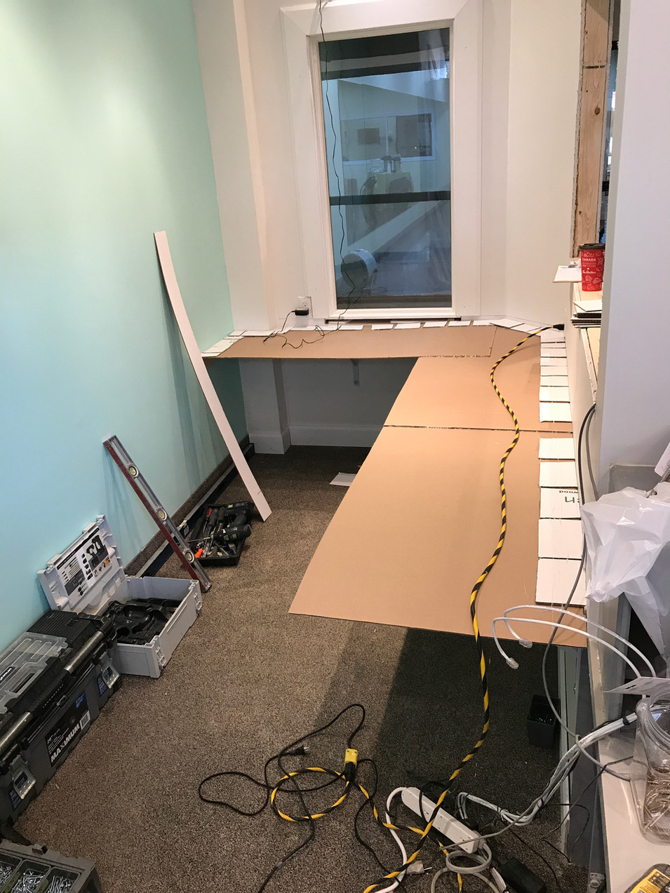 Sims templating for the new front desk countertops.