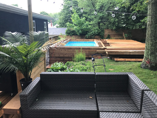 Pool and decks are going in.