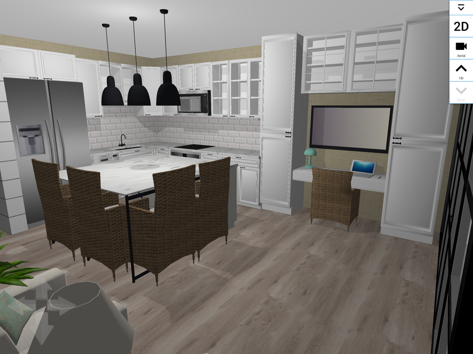 I changed the layout of the kitchen. I removed the peninsula and replaced it with an Island. There is seating and storage at the island, I ran the cabinetry down the wall to the glass doors to maximize storage. I also created a desk/workspace.